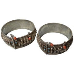 Fine Pair Middle Eastern Antique Silver Tribal Bracelets Tribal Jewelry