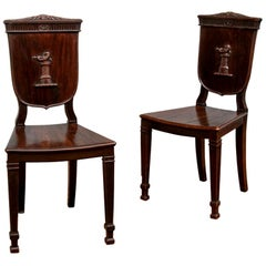 Fine Pair of 18th-19th Century Carved Hall Chairs