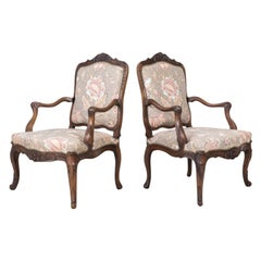 Fine Pair of 18th Century French Louis XV Period Carved Walnut Fauteuils
