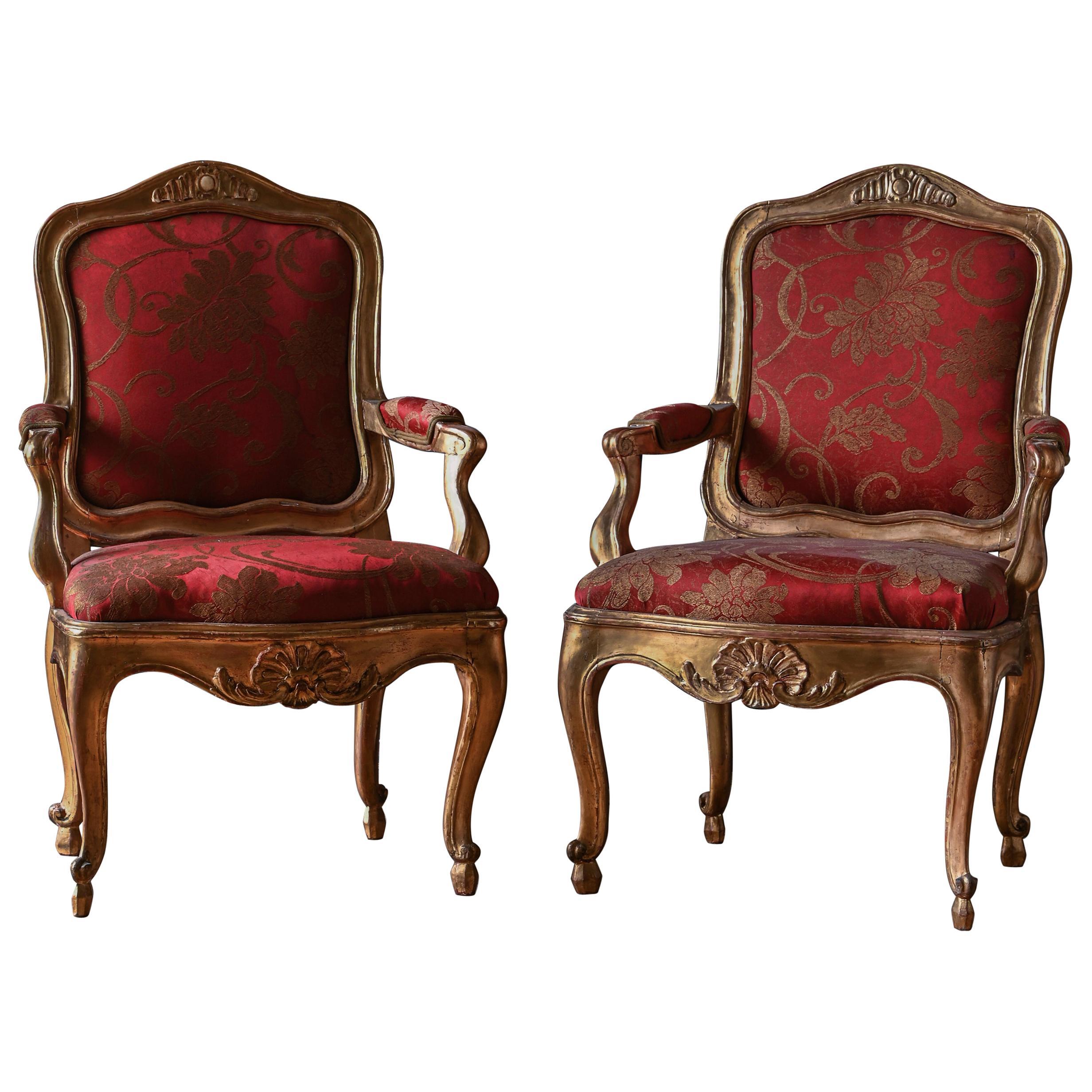 Fine Pair of 18th Century Swedish Rococo Armchairs
