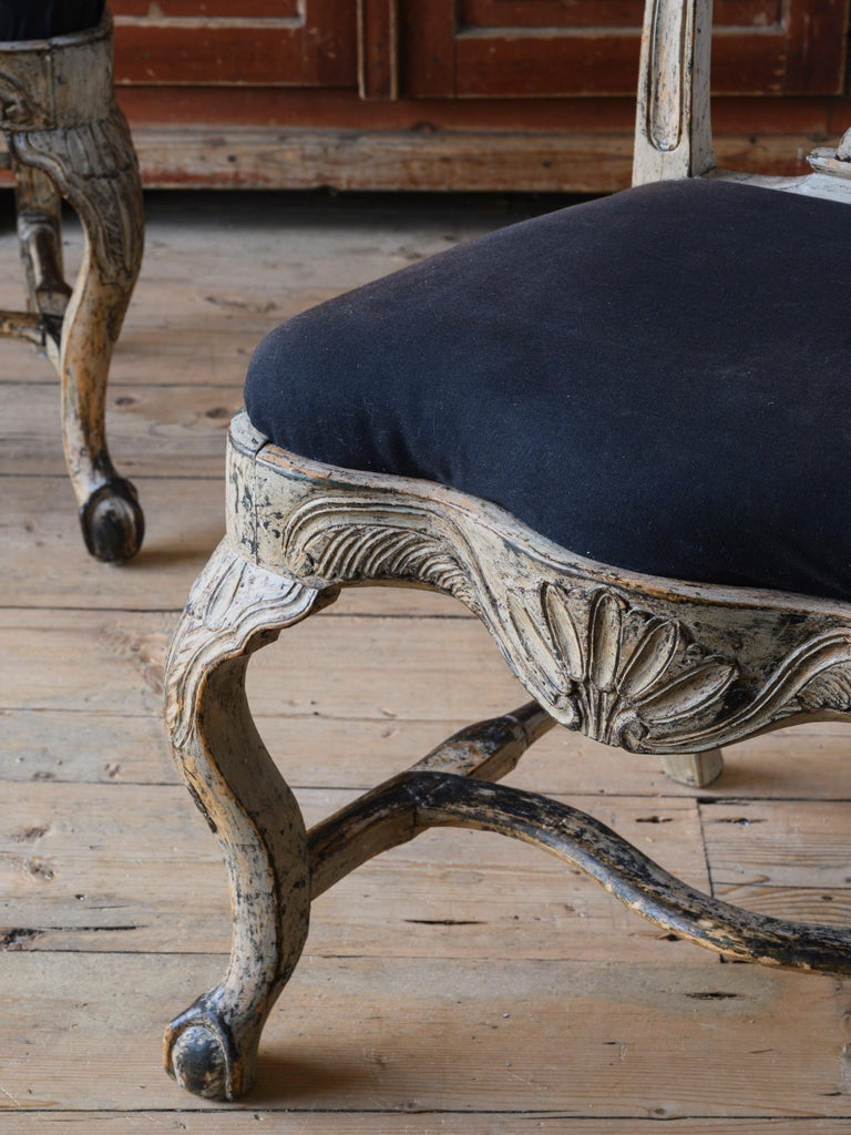 Fine Pair of 18th Century Swedish Rococo Chairs In Good Condition In Helsingborg, SE