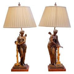 Fine Pair of 19h C Bronze Classical Fairies Lamps with Gilt Decorations