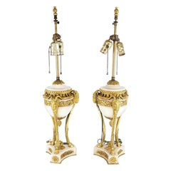 Fine Pair of 19th C French Louis XVI Carrera Marble and Gilt Bronze Lamps