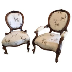 Fine Pair of 19th Century Antique Victorian Carved Walnut Chairs