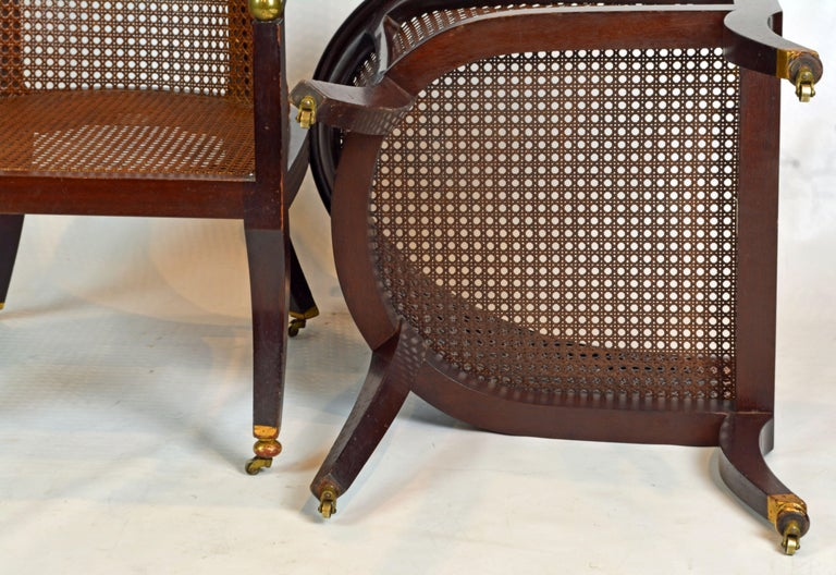 Fine Pair of 19th Century British Colonial Mahogany Barrel Back Cane Chairs 7