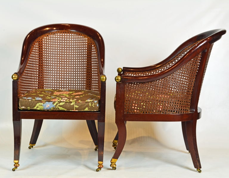 English Fine Pair of 19th Century British Colonial Mahogany Barrel Back Cane Chairs