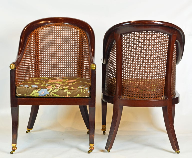 Fine Pair of 19th Century British Colonial Mahogany Barrel Back Cane Chairs In Good Condition In Ft. Lauderdale, FL