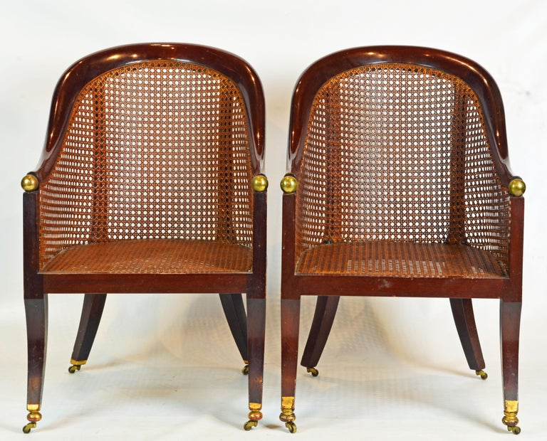 Brass Fine Pair of 19th Century British Colonial Mahogany Barrel Back Cane Chairs