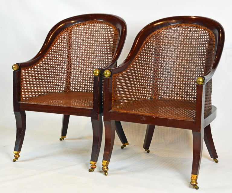 Fine Pair of 19th Century British Colonial Mahogany Barrel Back Cane Chairs 1