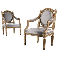 Fine Pair of 19th Century Decorative Italian Painted and Parcel Gilt Armchairs