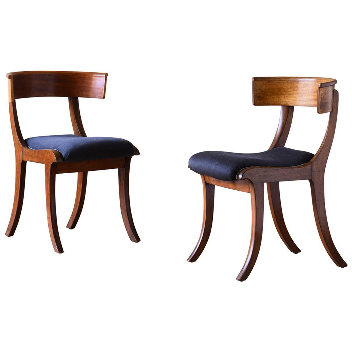 Fine Pair of 19th Century Empire Klismos Chairs