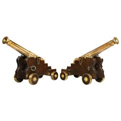 Fine Pair of 19th Century English Barrel Bronze Cannon on Oak Carriages