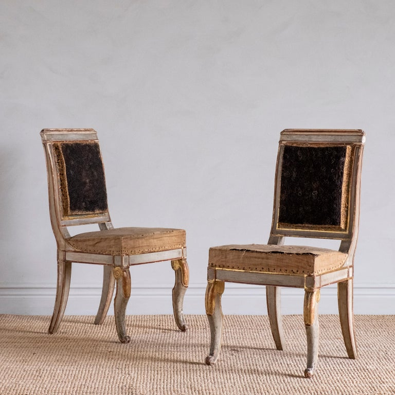 Fine Pair of 19th Century French Empire Side Chairs In Good Condition For Sale In Helsingborg, SE
