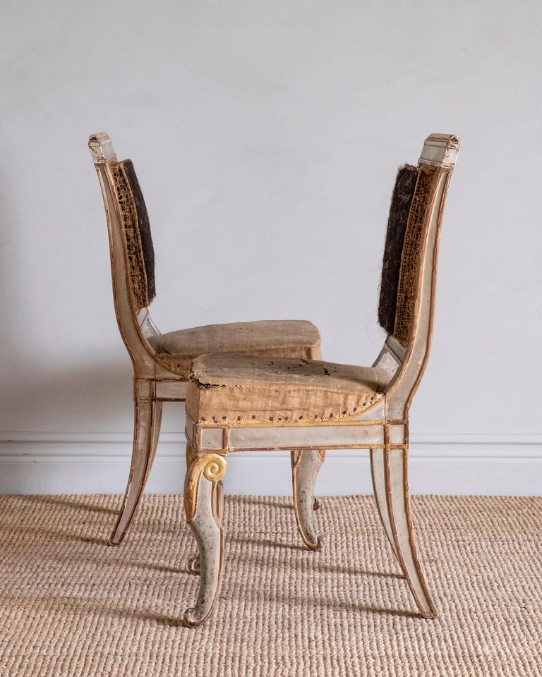 Wood Fine Pair of 19th Century French Empire Side Chairs For Sale