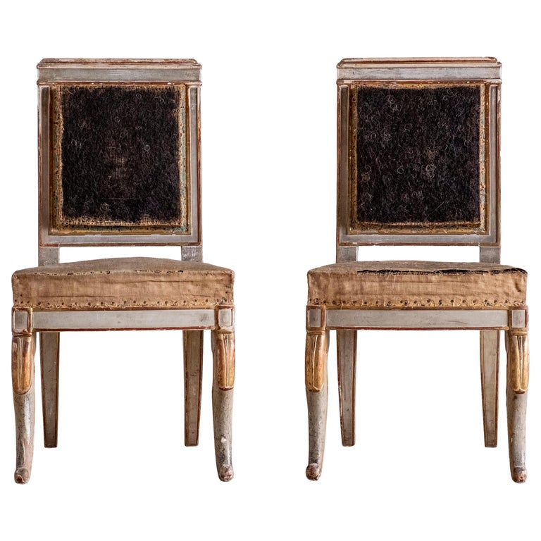 Fine Pair of 19th Century French Empire Side Chairs For Sale