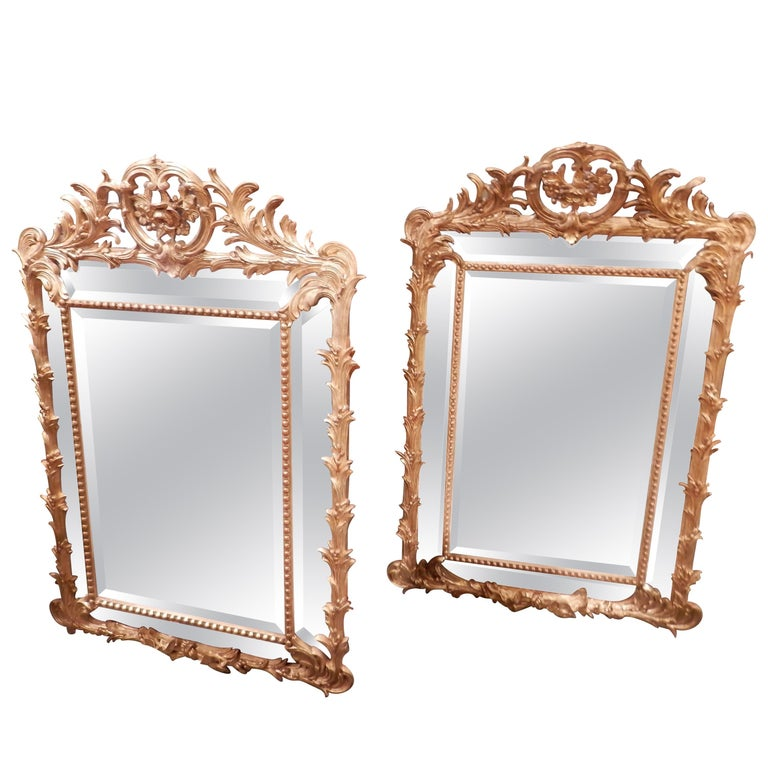 Fine Pair of 19th Century French Louis XV Gilt Carved Mirrors For Sale