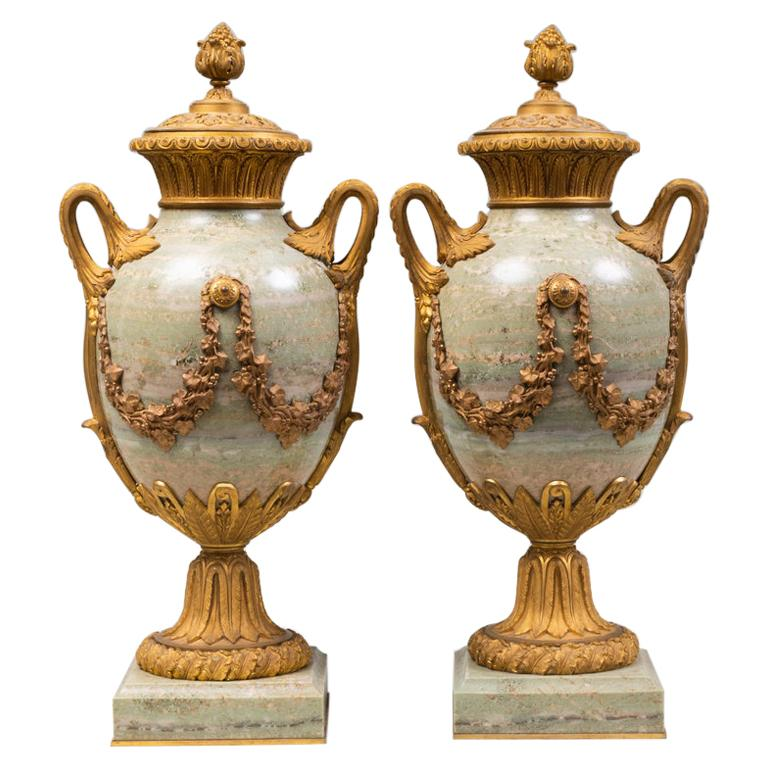 Fine Pair of 19th Century French Louis XVI Marble and Gilt Bronze Lidded Urns