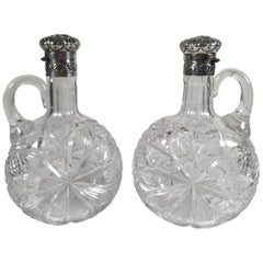 Fine Pair of 19th Century Gorham Sterling and Cut Glass Decanters