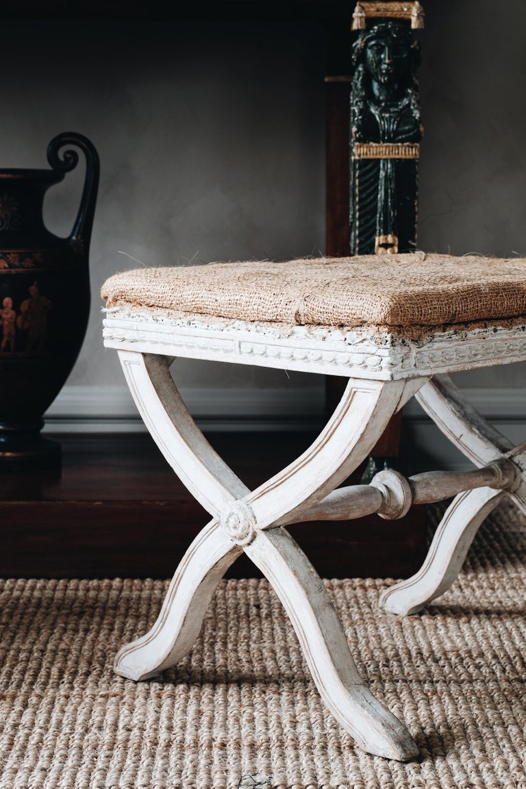 Swedish Fine Pair of 19th Century Gustavian X Frame Stools For Sale