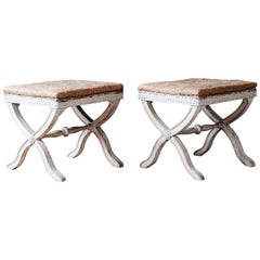 Fine Pair of 19th Century Gustavian X Frame Stools
