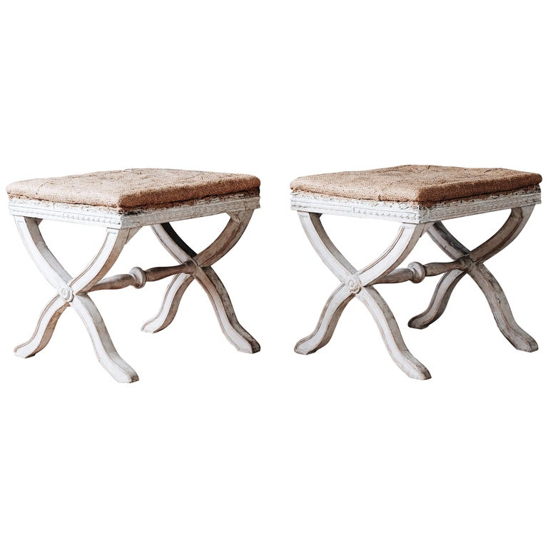 Fine Pair of 19th Century Gustavian X Frame Stools For Sale