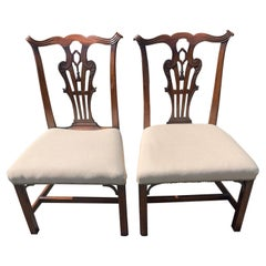 Fine Pair of 19th Century Irish Georgian Side Chairs with Center Carved Tassels