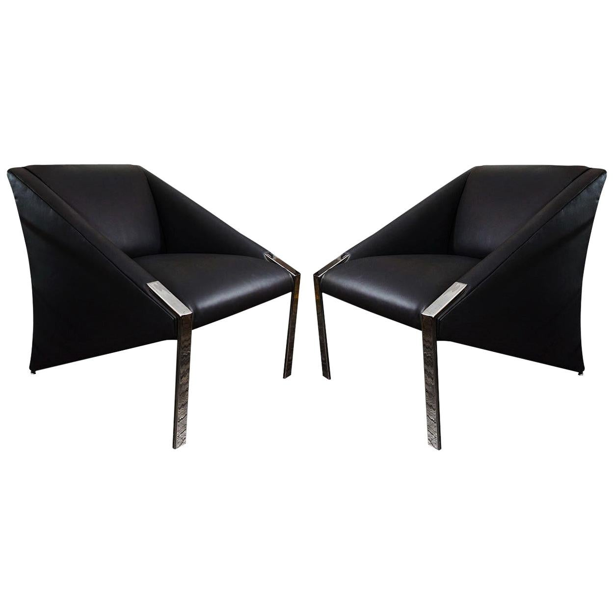 Fine Pair of Andrée Putman Club Chairs in Black