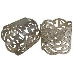 Fine Pair of Antique English Sterling Silver Napkin Rings, 1906