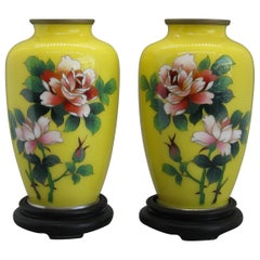 Fine Pair of Antique Japanese Cloisonné Enamel Vase Attributed to Ando Jubei