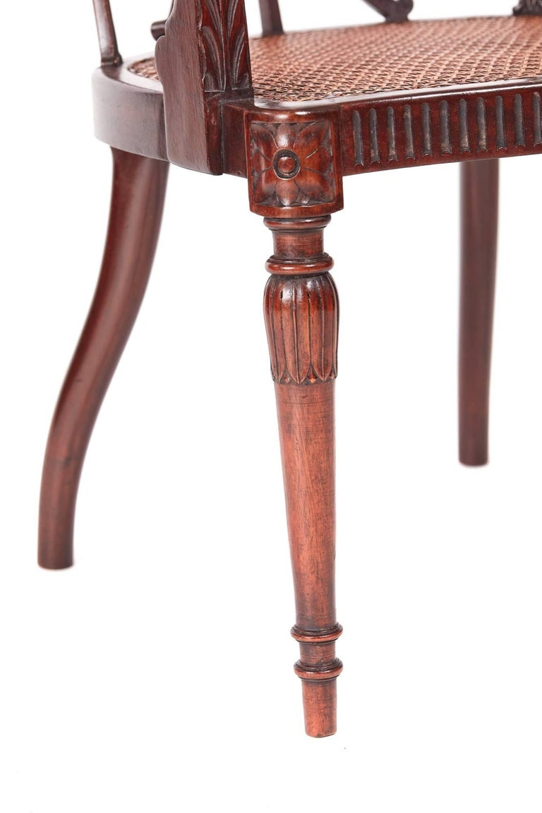 Fine Pair of Antique Mahogany Hepplewhite Style Library Chairs For Sale 2