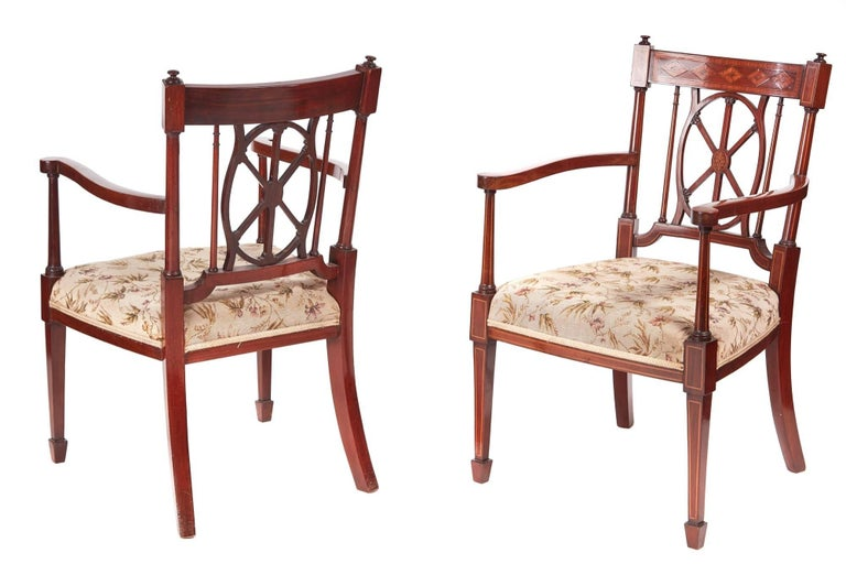 Fine pair of antique mahogany inlaid arm/desk chairs, with fine inlaid  satinwood tops - Fine Pair Of Antique Mahogany Inlaid Arm/Desk Chairs For Sale At 1stdibs
