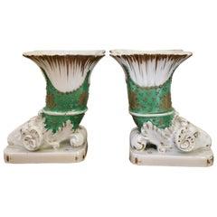 Fine Pair of Antique Regency Porcelain Spill Vases