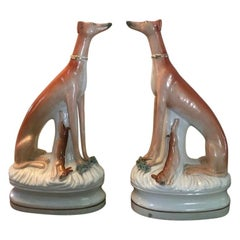 Fine Pair of Antique Staffordshire Greyhounds