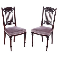 Fine Pair of Antique Victorian Carved Mahogany Side Chairs