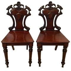Fine Pair of Antique William IV Hall Chairs
