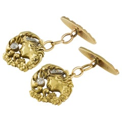 Fine Pair of Art Nouveau Yellow Gold Cufflinks