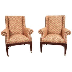 Fine Pair of Baker Chippendale Style Wing Chairs