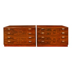 Fine Pair of Bedside Tables / Chests in Brazilian Rosewood, 1950s