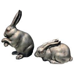 """Fine Pair of Big Bronze """"Red Eye Rabbits"""" from Old Japan"""