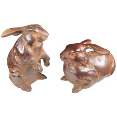Fine Pair of Big Hand Cast Bronze Playful Rabbits from Old Japan