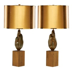 Fine Pair of Brass Lamps by Maison Charles