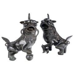 Fine Pair of Bronze Guardian Foo Lions