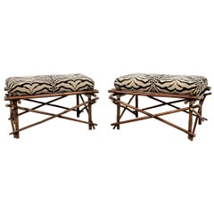 Fine Pair of Campaign Style Rattan Foot Stools