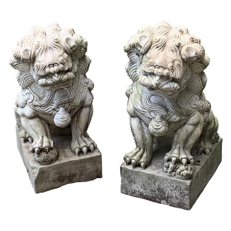Fine Pair of Carved Marble Garden Foo Lion Figures