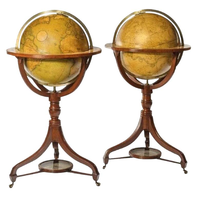 Fine Pair of Cary's Floor Standing Library Globes For Sale