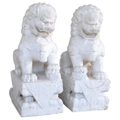 Fine Pair of Chinese Export Marble Seated Foo Dogs