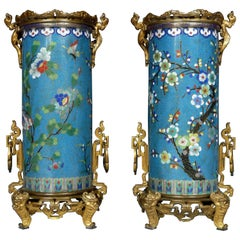 "Fine Pair of ""Cloisonné"" Enamel Bronze Vases Attributed to F. Barbedienne"