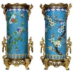 """Fine Pair of """"Cloisonné"""" Enamel Bronze Vases Attributed to L'Escalier de Cristal"""