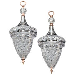 Fine Pair of Cut Glass Acorn Lanterns by F&C Osler