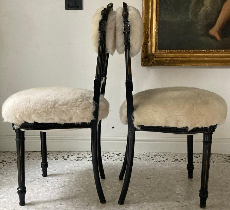 Fine Pair of Decorative Black Chairs with White Wool , Sicily Italy 1920's For Sale 2